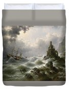 Stormy Sea With Lighthouse On The Coast Duvet Cover
