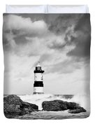 Stormy Seas Black And White Duvet Cover