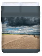 Stormy Weather Over The Beach In Scotland Duvet Cover