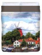 Windmill In Strangnas Sweden Duvet Cover