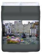 Stravinsky Fountain Near Centre Pompidou In Paris, France Duvet Cover