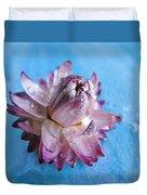 Straw Flower On Blue Duvet Cover