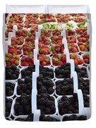 Strawberries And Blackberries Duvet Cover