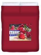 Strawberries And Roses Duvet Cover