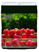 Strawberries And Summer Showers Duvet Cover