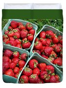 Strawberries In A Box On The Green Grass Duvet Cover