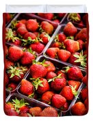 Strawberries With Green Weed In Plastic Containers  Duvet Cover