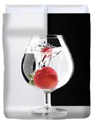 Strawberry In A Glass Duvet Cover by Oleksiy Maksymenko