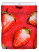 Strawberry Slice Food Still Life Duvet Cover