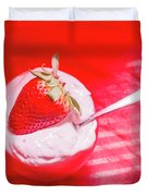 Strawberry Yogurt In Round Bowl With Spoon Duvet Cover