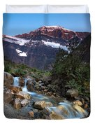 Stream And Mt. Edith Cavell At Sunset Duvet Cover