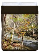 Stream In An Autumn Woods Duvet Cover