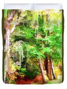 Streams In A Wood Covered With Leaves Duvet Cover