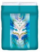 Streams Of Light In Turquoise Duvet Cover