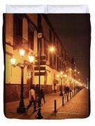 Street At Night, Lima Peru Duvet Cover
