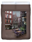 Street Cafe Mooy In Amsterdam Duvet Cover