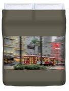 Street Car Flying Down Canal Duvet Cover