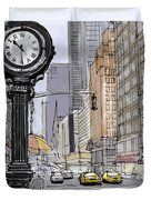 Street Clock On 5th Avenue Handmade Sketch Duvet Cover