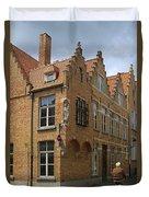 Street Corner In Bruges Belgium Duvet Cover