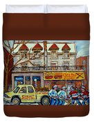 Street Hockey Pointe St Charles Winter  Hockey Scene Paul's Restaurant Quebec Art Carole Spandau     Duvet Cover