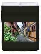 Street In Eguisheim, Alsace, France Duvet Cover