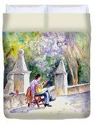 Street Musician In Pollenca Duvet Cover