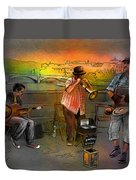 Street Musicians In Prague In The Czech Republic 03 Duvet Cover