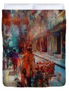 Street Of Nepal Colored  Duvet Cover