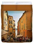 Street Scene In Villefranche Duvet Cover