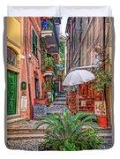 Street Scene Monterosso Italy Dsc02470 Duvet Cover