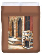 Street Scene Oil Painting Duvet Cover