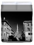 Street Scene With Transamerica Pyramid From Chinatown  Duvet Cover