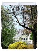 Street With Forsythia Duvet Cover