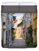 Street With Sunshine In Villefranche-sur-mer Duvet Cover