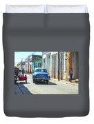 Streetlife With Car In Trinidad, Cuba Duvet Cover
