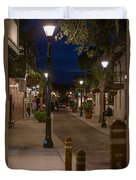 Streets Of St. Augustine At Night Duvet Cover