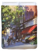 Streetscape With Red Awning - 82nd Street Market Duvet Cover