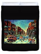 Streetscenes Of Montreal Hockey Paintings By Montreal Cityscene Specialist Carole Spandau Duvet Cover
