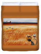 Stressie Cat And Crows In The Hay Fields Duvet Cover