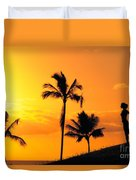 Stretching At Sunset Duvet Cover