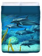 Striped Dolphins Duvet Cover