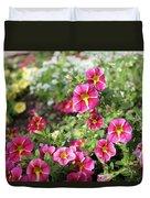 Striped Petunias Duvet Cover
