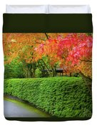 Strolling Path Lined With Japanese Maple Trees In Fall Duvet Cover