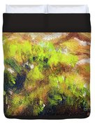 Structure Of Wooden Log Covered With Moss, Closeup Painting Detail. Duvet Cover