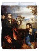 Sts John And Bartholomew With Donors 1527 Duvet Cover