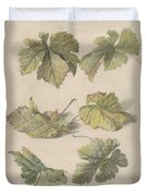 Studies Of Vine Leaves, Willem Van Leen, 1796 Duvet Cover