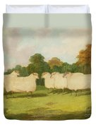 Study Of Sheep In A Landscape   Duvet Cover by Richard Whitford