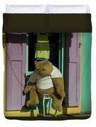 Stuffed Bear Chained To A Door Duvet Cover