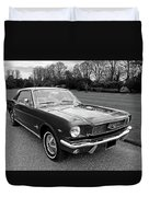Stunning 1966 Mustang In Black And White Duvet Cover