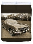 Stunning '66 Mustang In Sepia Duvet Cover